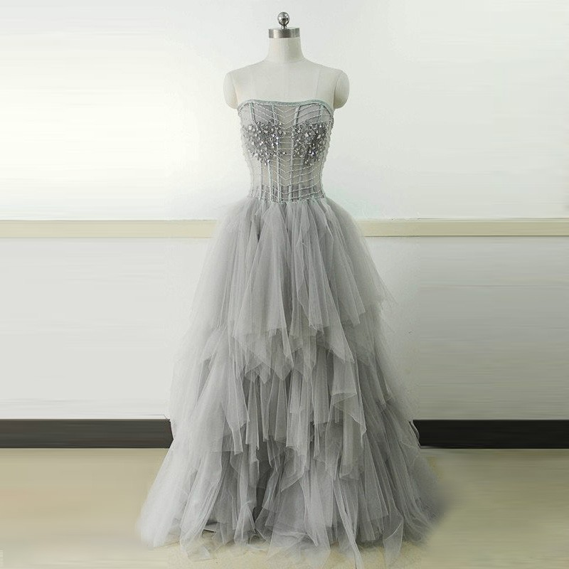 A-Line Strapless Long Tiered Grey Tulle Prom Dress with Beading