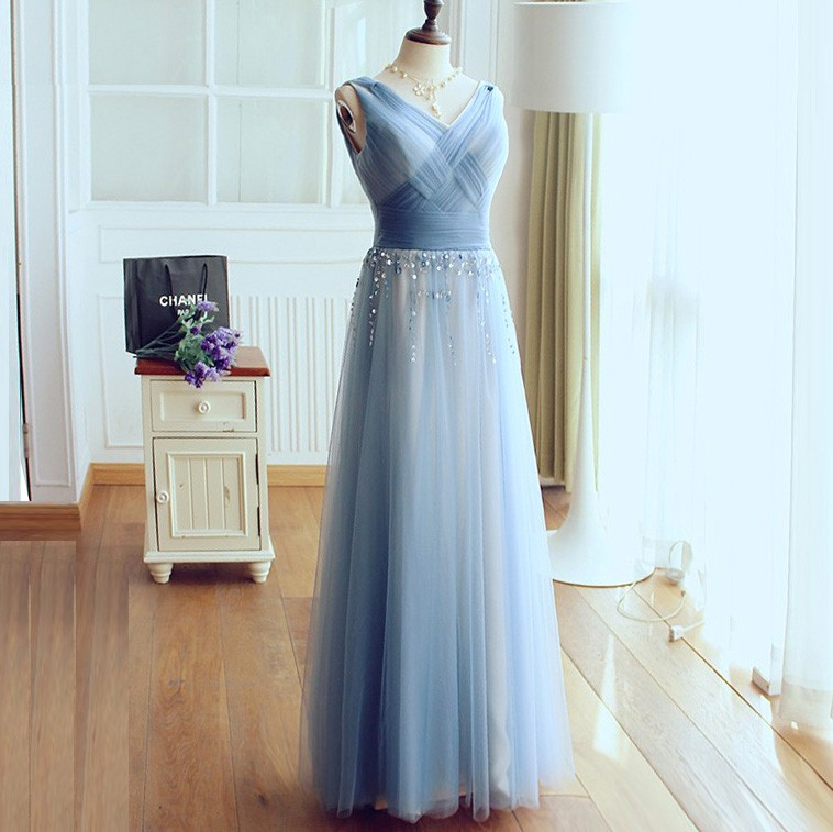 A-Line V-Neck Long Light Sky Blue Tulle Prom Dress with Beading