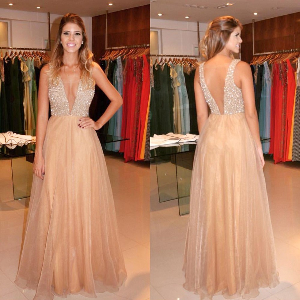 A-Line V-Neck Illusion Back Champagne Chiffon Prom Dress with Beading