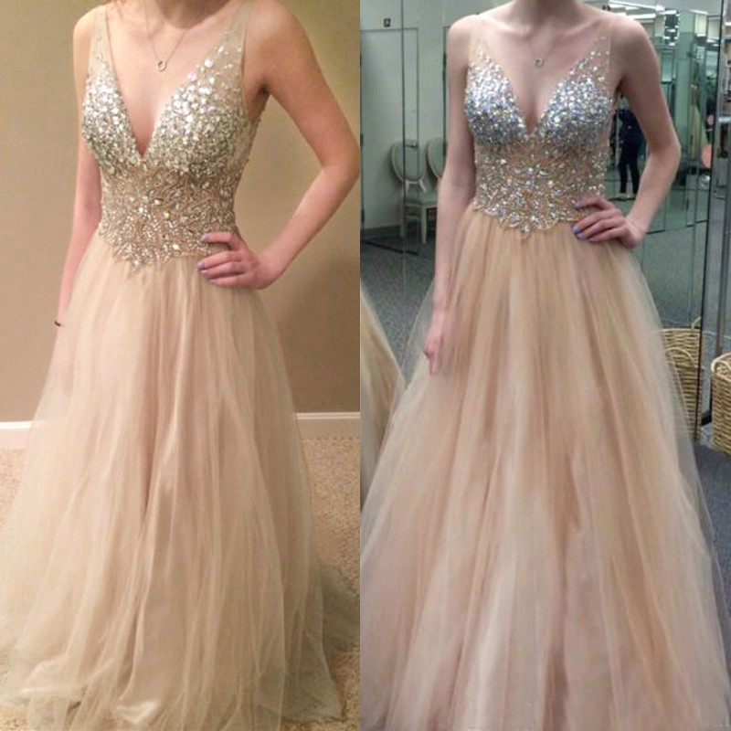 A-Line V-Neck Long Champagne Tulle Prom Dress with Beading Rhinestones
