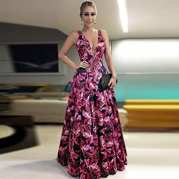 A-Line Deep V-Neck Floor-Length Pleated Satin Prom Dress Printed Flowers