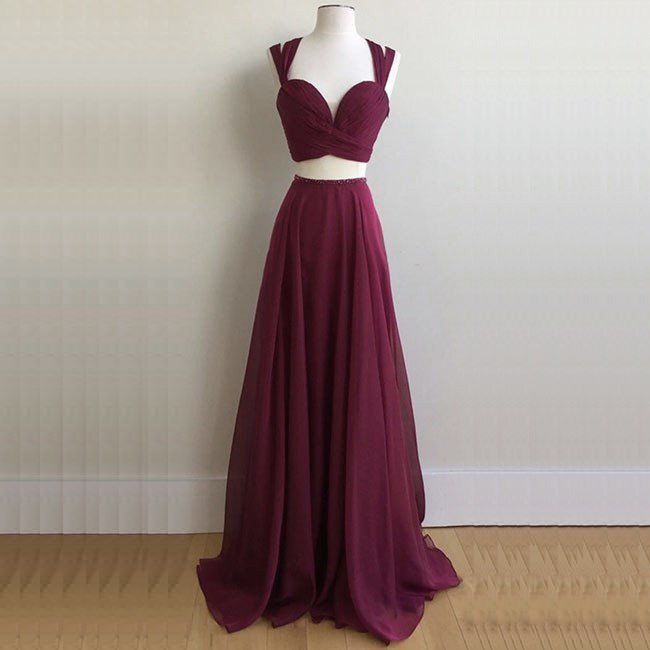 Two Piece Scoop Sweep Train Burgundy Chiffon Prom Dress with Beading