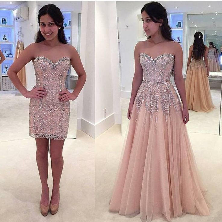 Sheath Sweetheart Pearl Pink Tulle Detachable Train Prom Dress Beading Lace