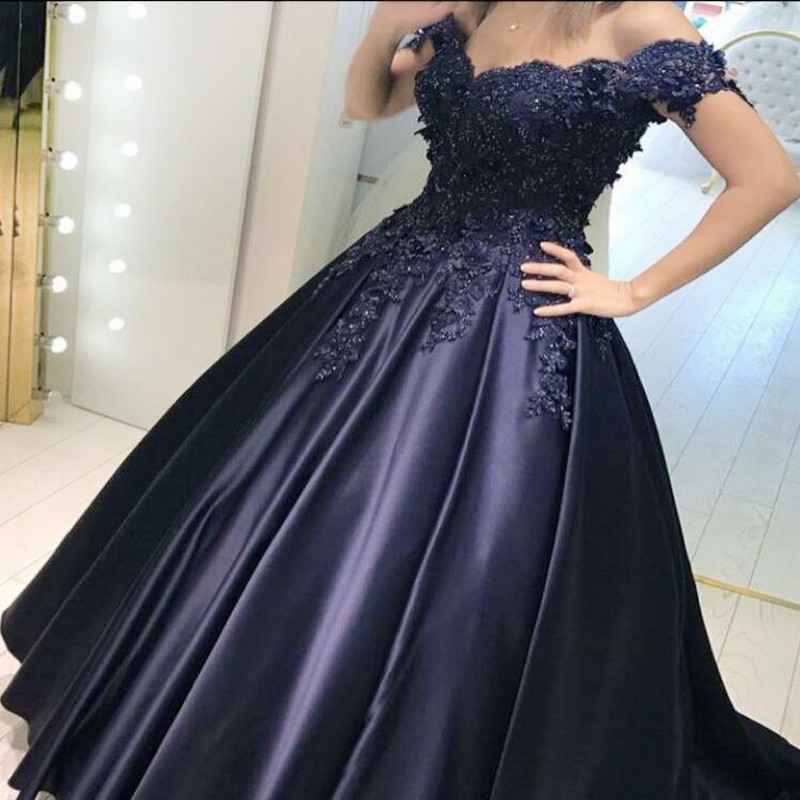 Ball Gown Off-the-Shoulder Navy Blue Satin Prom Dress with Beading Appliques