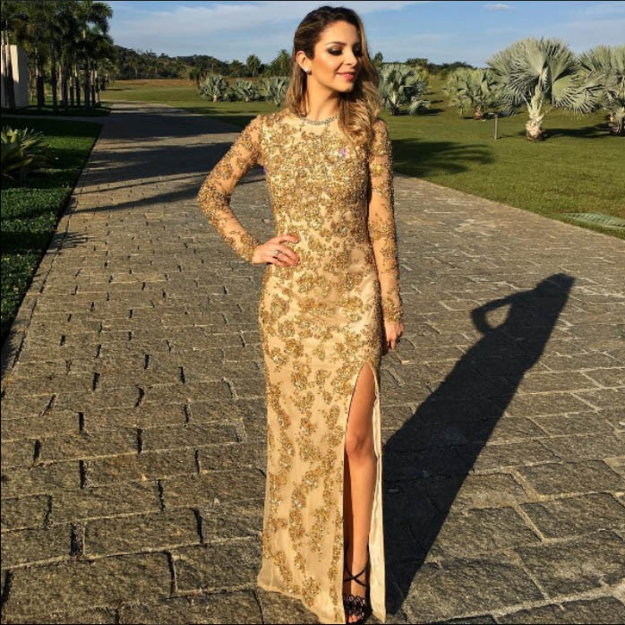 Sheath Jewel Long Sleeves Gold Chiffon Prom Dress with Beading Sequins