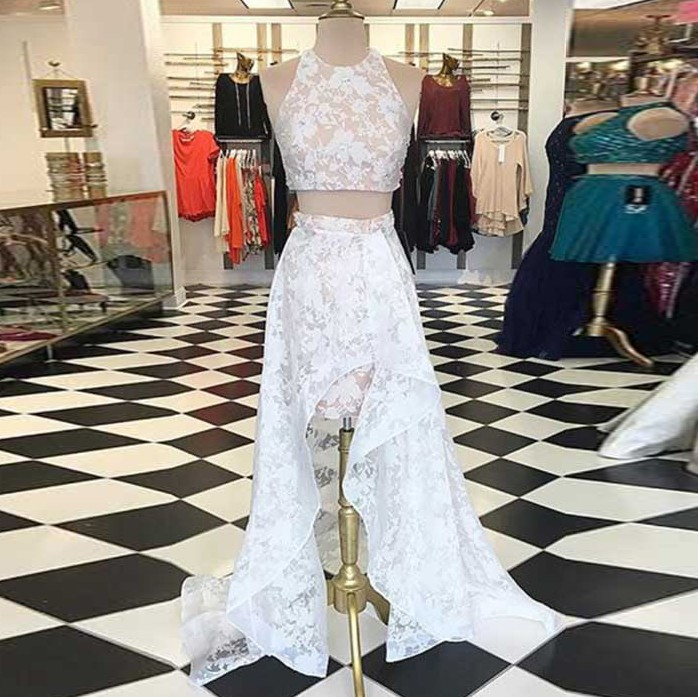 Two Piece High Low Jewel White Lace Prom Homecoming Dress