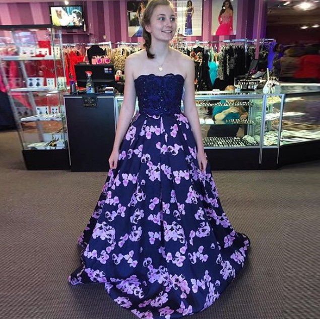 A-Line Strapless Navy Blue Floral Satin Prom Dress with Beading Lace