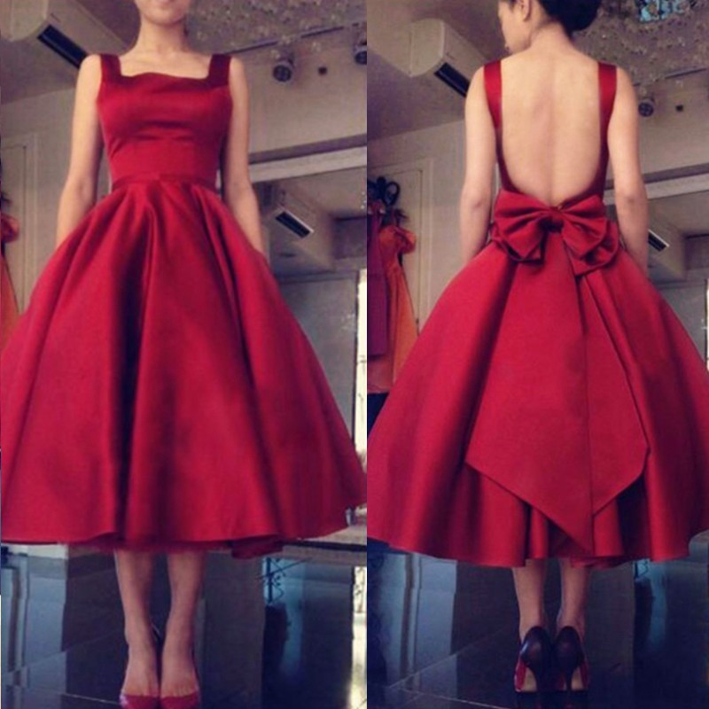 Ball Gown Square Backless Mid-Calf Burgundy Satin Prom Dress with Bowknot