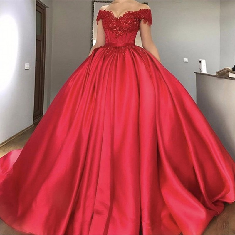 Ball Gown Off-the-Shoulder Red Beaded Satin Prom Dress with Pleats Appliques