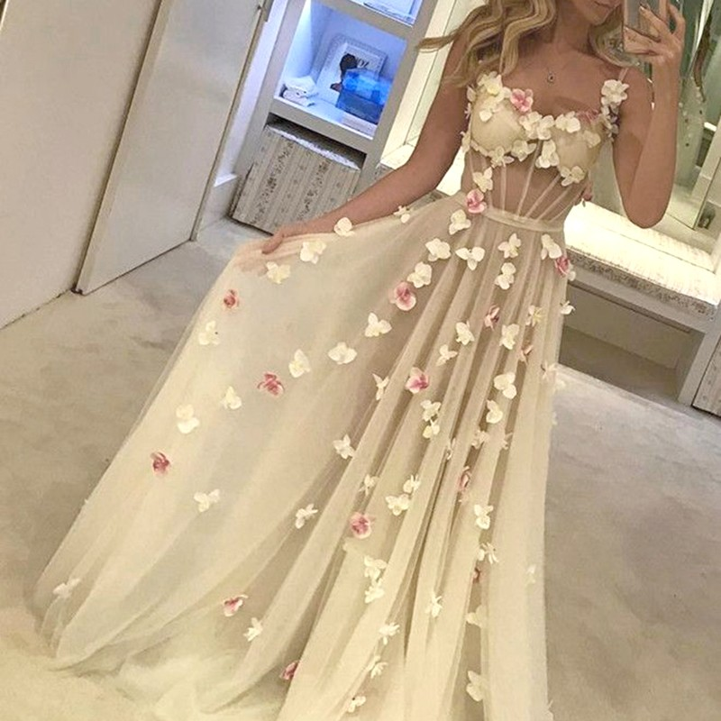 A-Line Straps Sweep Train Ivory Tulle Prom Dress with Appliques Beading