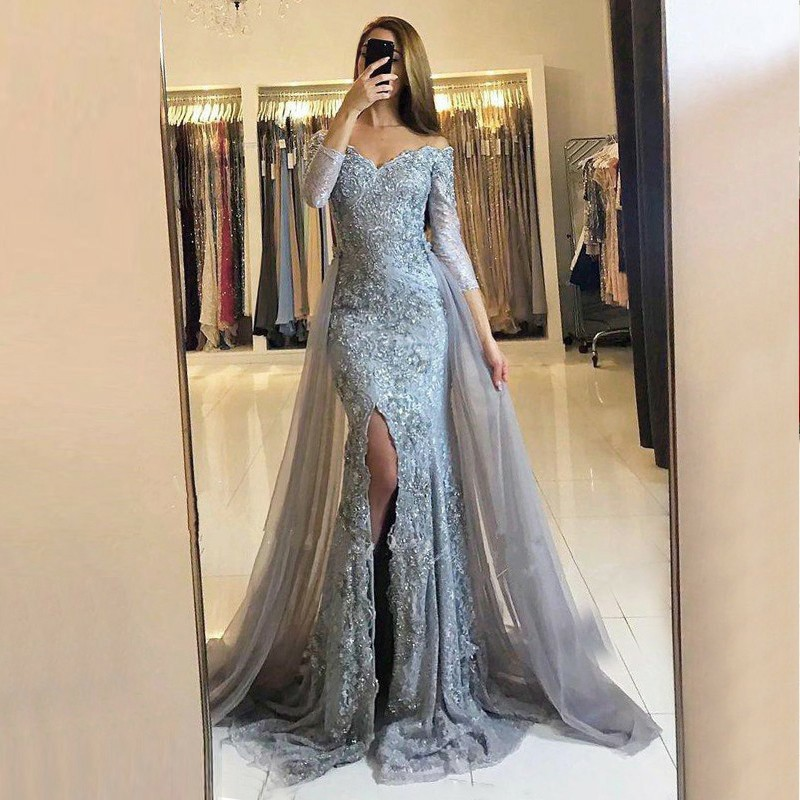 Sheath Off-the-Shoulder Detachable Train Grey Tulle Prom Dress with Beading Appliques