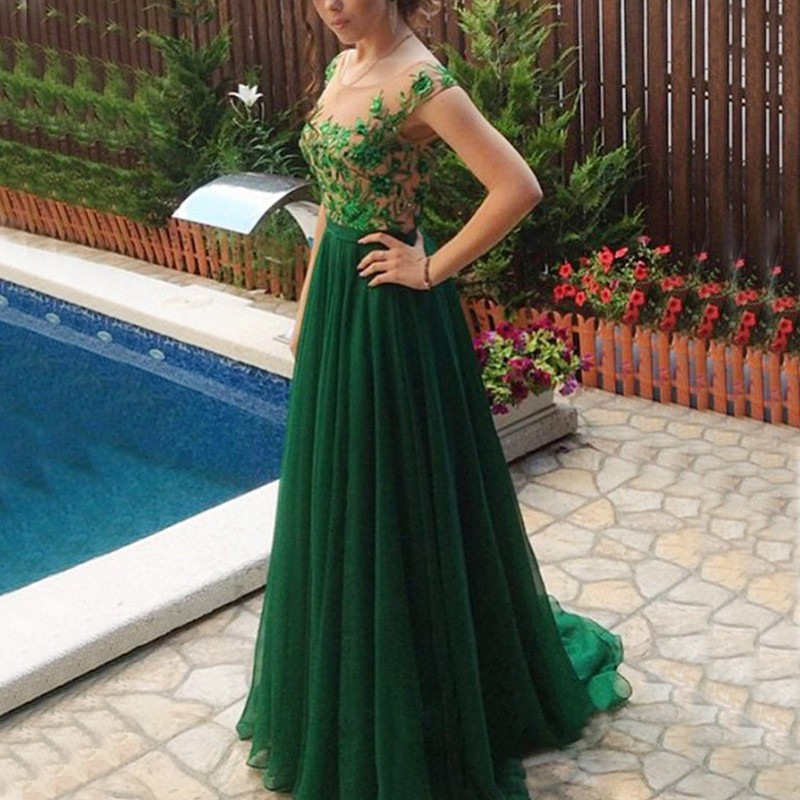 A-Line Bateau Cap Sleeves Dark Green Chiffon Prom Dress with Beading Appliques