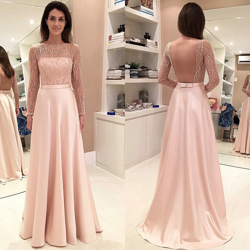 A-Line Bateau Long Sleeves Backless Pearl Pink Satin Prom Dress with Beading