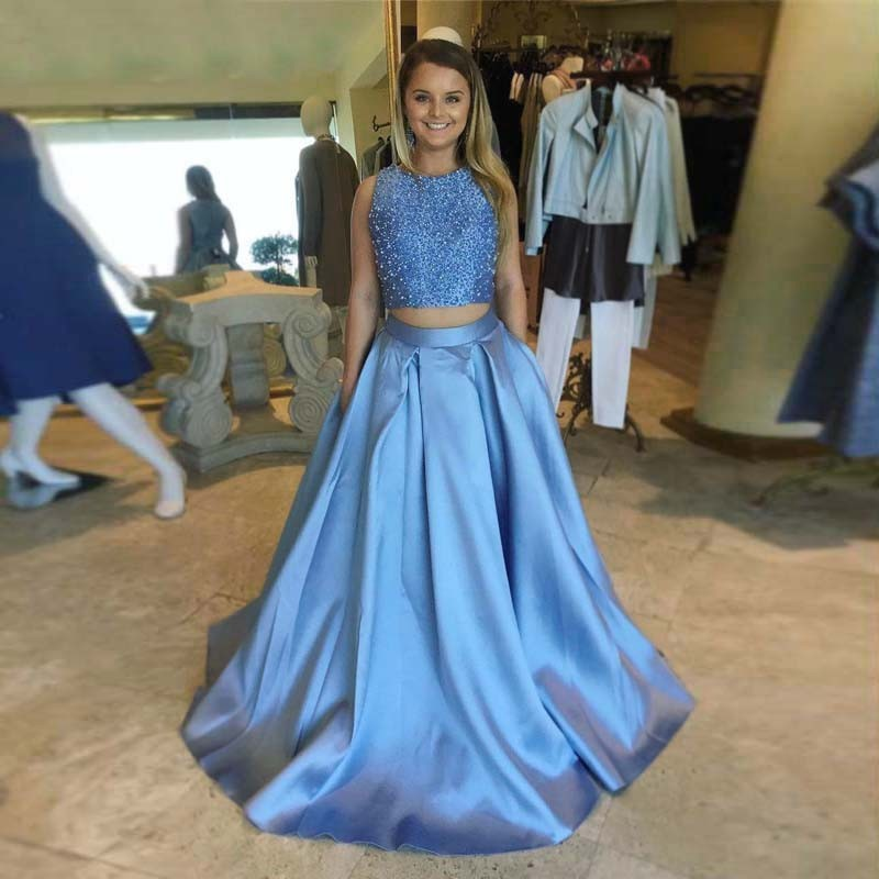 Two Piece Round Neck Light Sky Blue Open Back Prom Dress with Beading Pockets