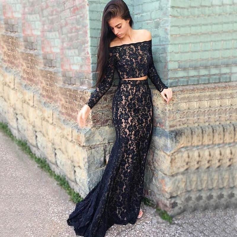 Two Piece Mermaid Strapless Dark Navy Lace Prom Dress with Beading
