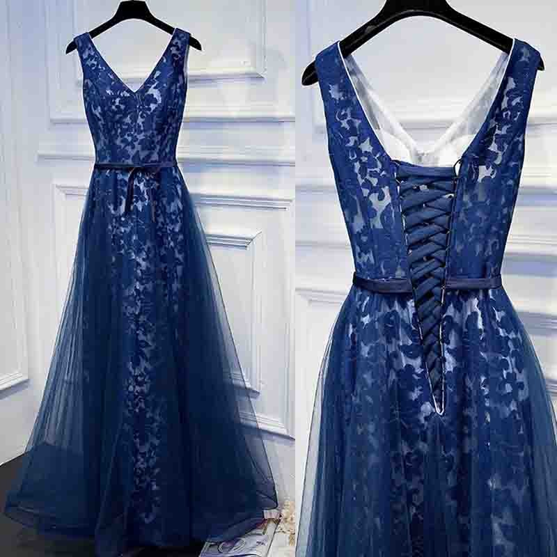 A-Line V-Neck Long Dark Blue Tulle Prom Dress with Sash Lace