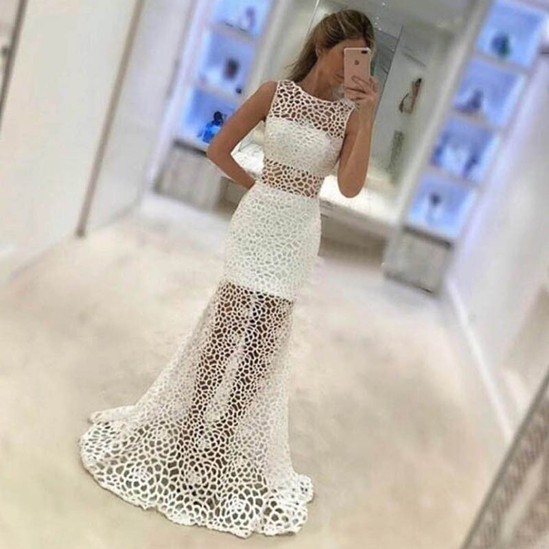 Sheath Round Neck Sweep Train White Sheer Lace Prom Dress