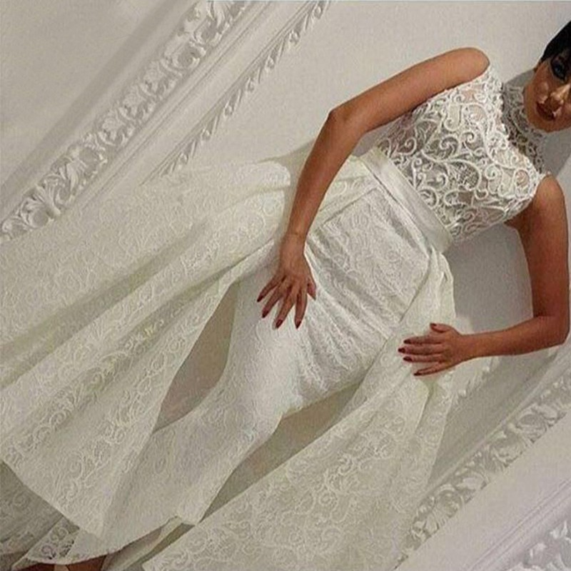 Mermaid High Neck Asymmetrical Ivory Lace Prom Dress with Overskirt