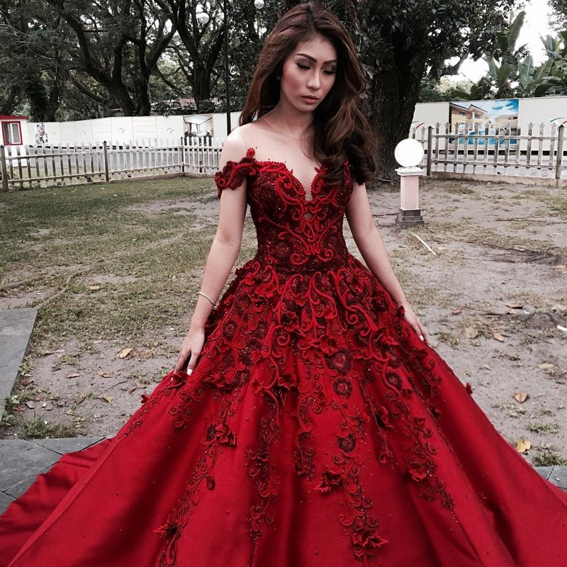 A-Line Illusion Neck Cold Shoulder Dark Red Prom Dress with Beading Appliques
