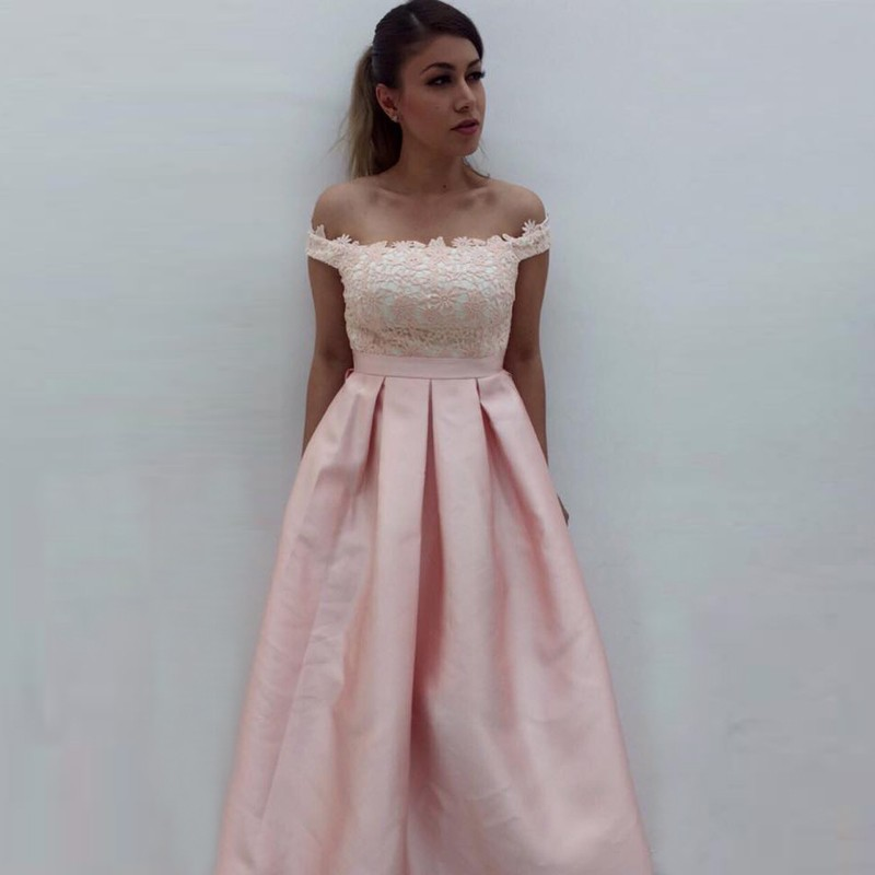 a05d2999b3 A-Line Off-the-Shoulder Pearl Pink Satin Prom Dress with Pockets  Lace