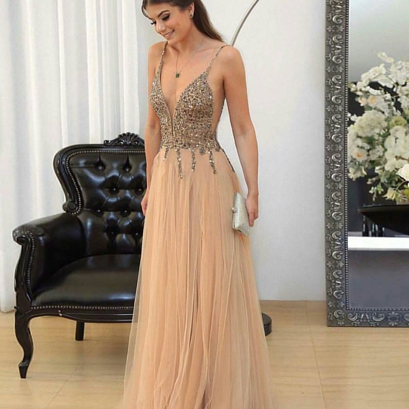 12661cfc82 A-Line Spaghetti Straps Champagne Tulle Prom Dress with Beading
