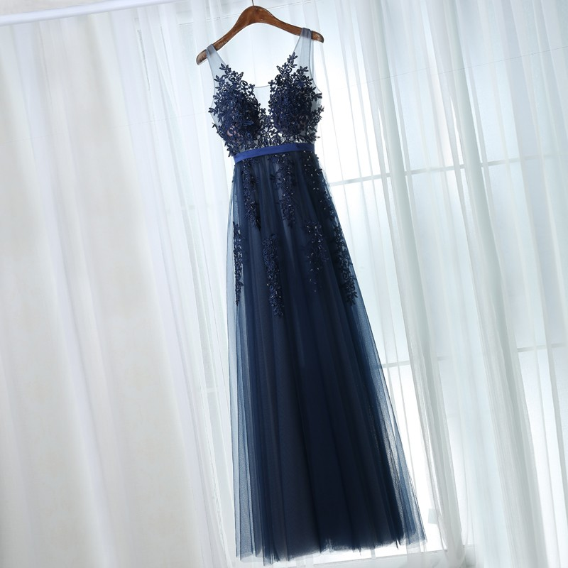 A-Line Scoop Backless Navy Blue Tulle Prom Dress with Sash Appliques