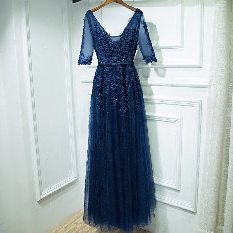 A-Line V-Neck Half Sleeves Dark Blue Tulle Prom Dress with Beading Appliques