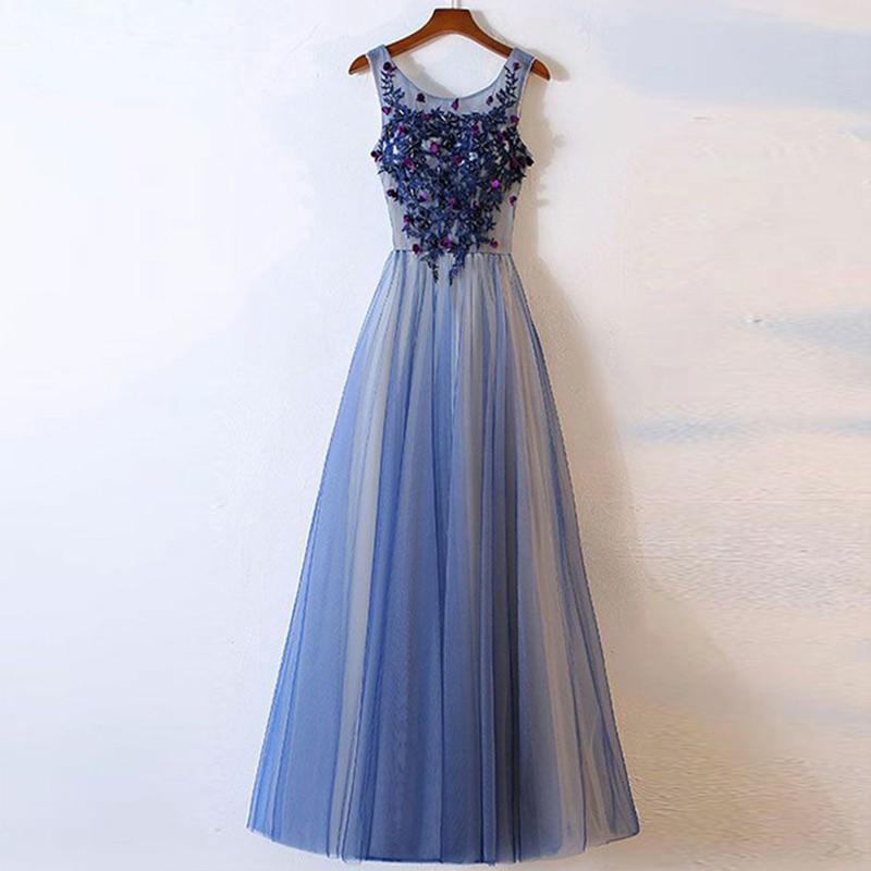 A-Line Scoop Floor-Length Blue Tulle Prom Dress with Appliques
