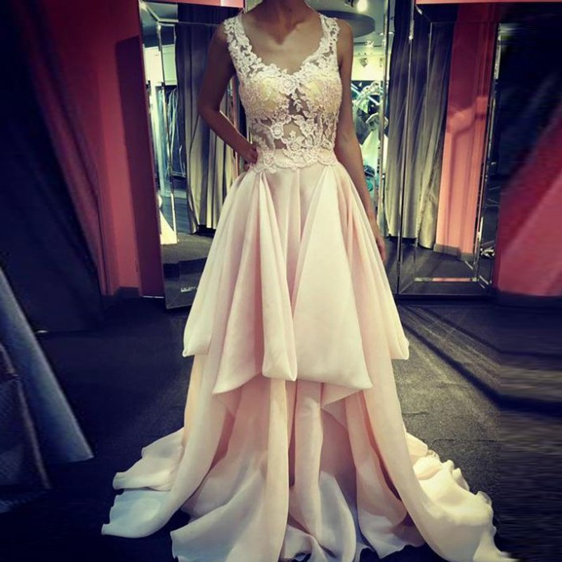 A-Line Scoop Sweep Train Pearl Pink Chiffon Prom Dress with Appliques