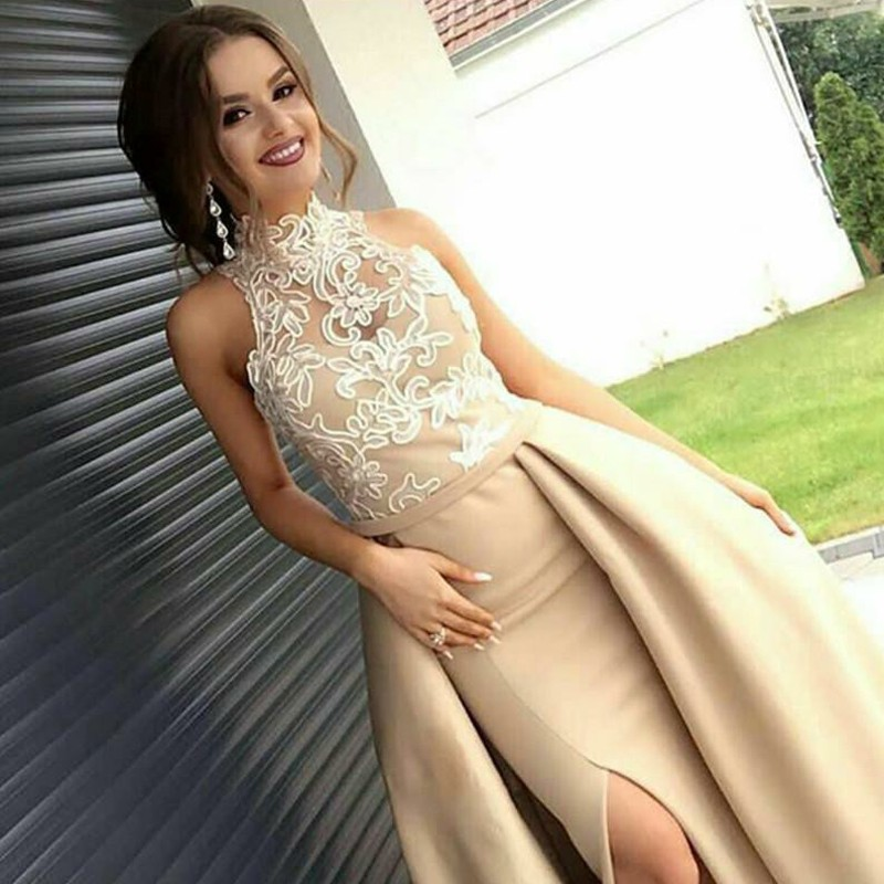 Sheath High Neck Long Champagne Satin Prom Dress with Lace