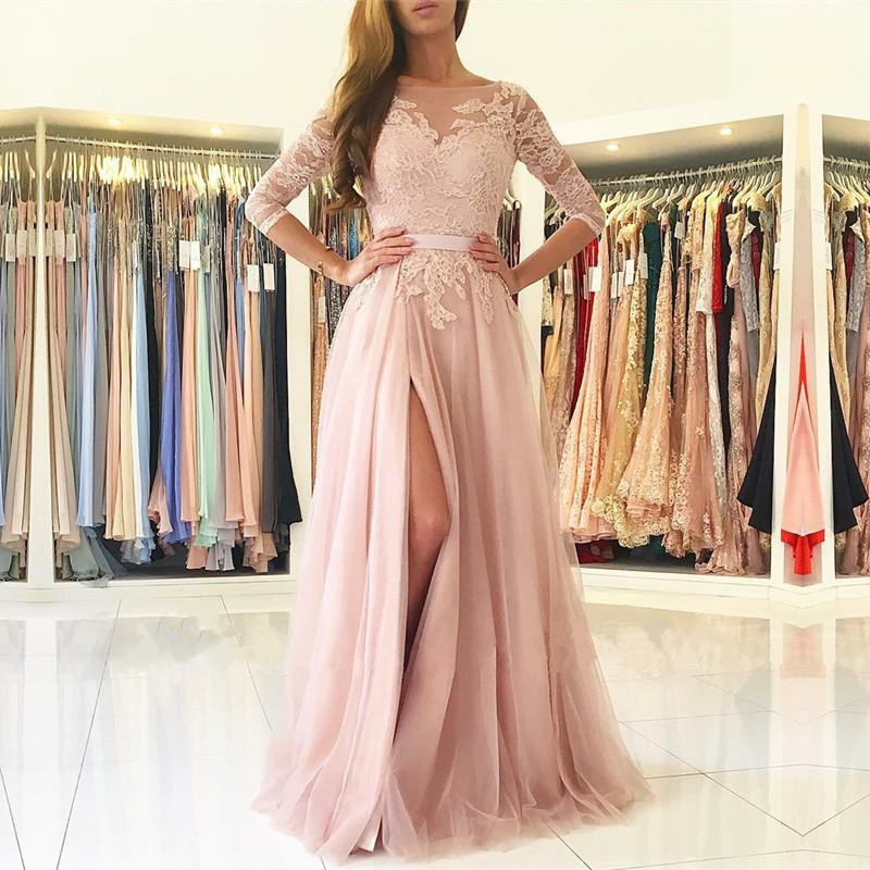 A-Line Bateau 3/4 Sleeves Pearl Pink Tulle Prom Dress with Appliques