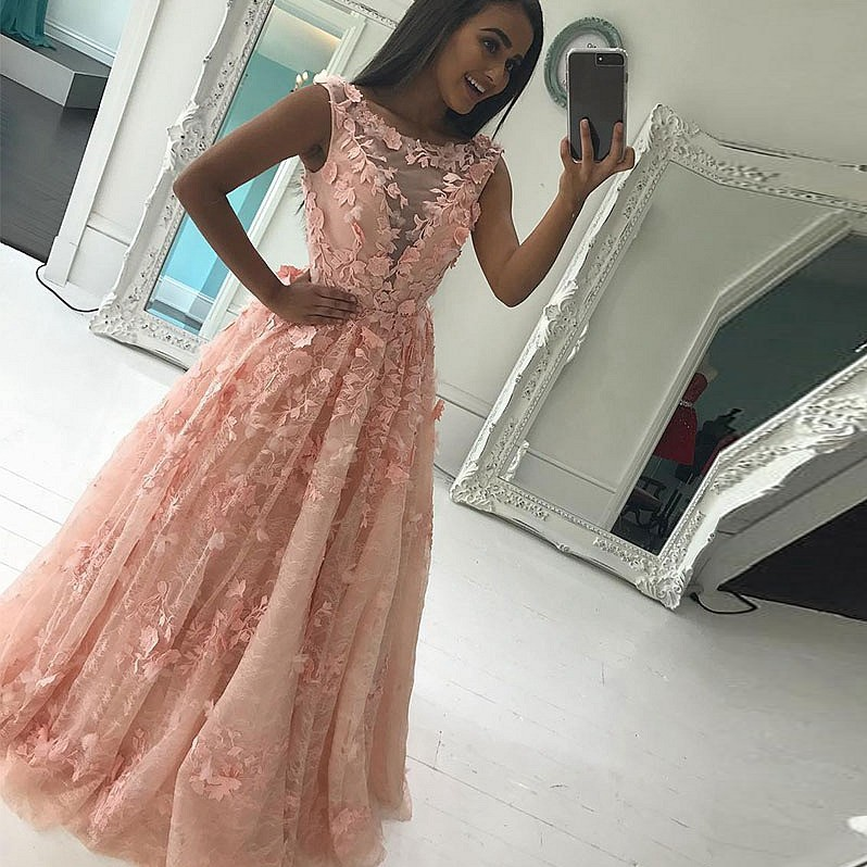 A-Line Bateau Floor-Length Pink/Ivory Lace Prom Dress with Appliques