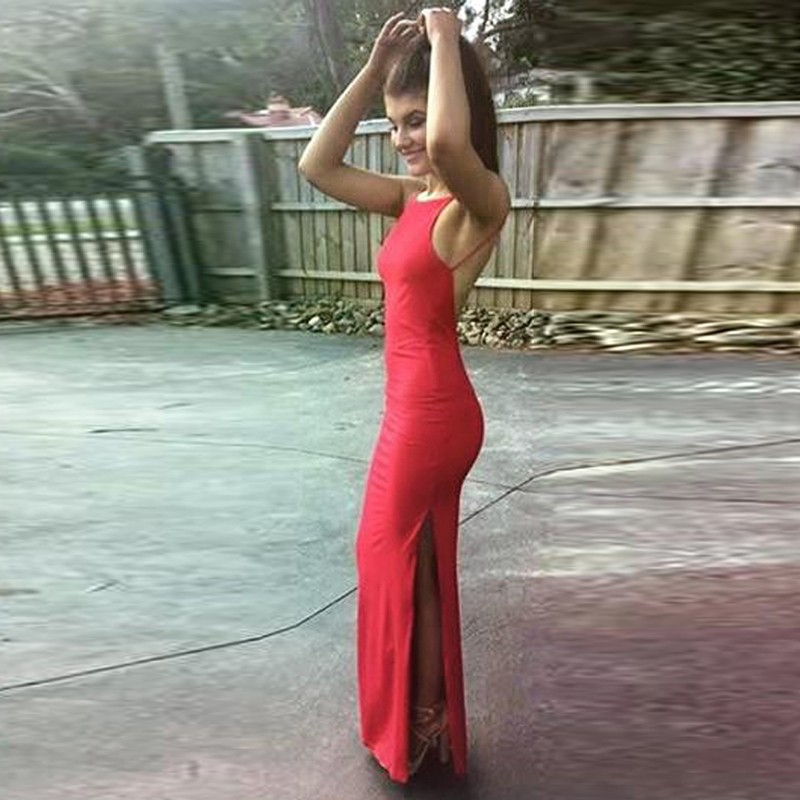Sheath Jewel Backless Floor-Length Red Prom Dress with Split