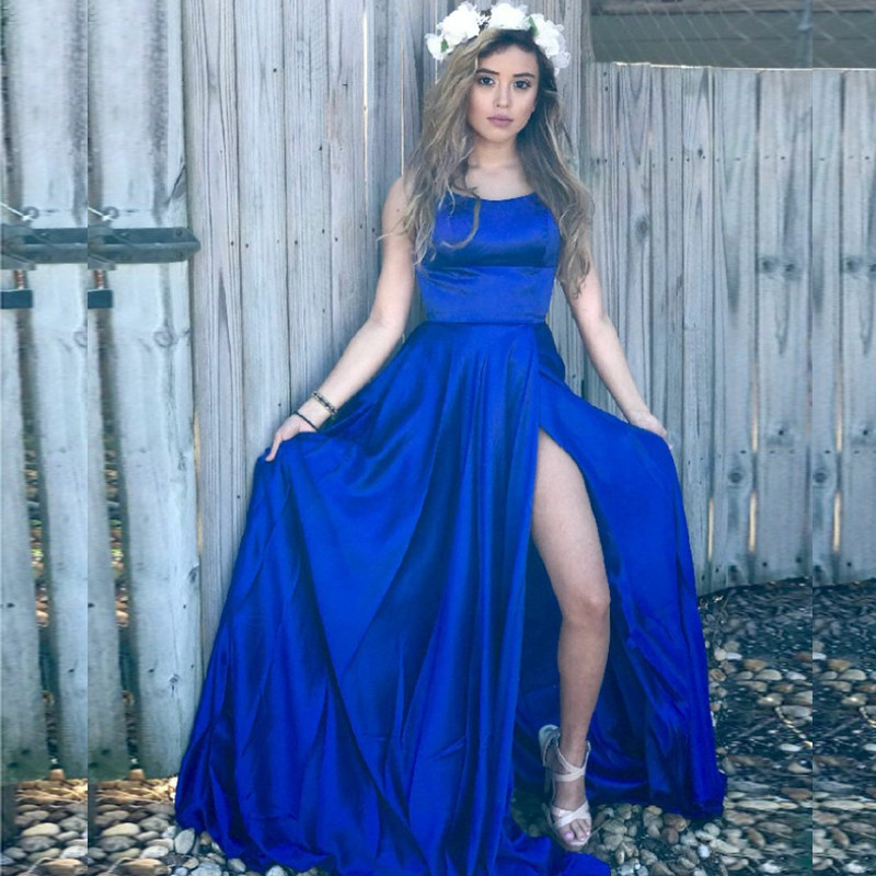 A-Line Halter Backless Sweep Train Royal Blue Prom Dress with Split