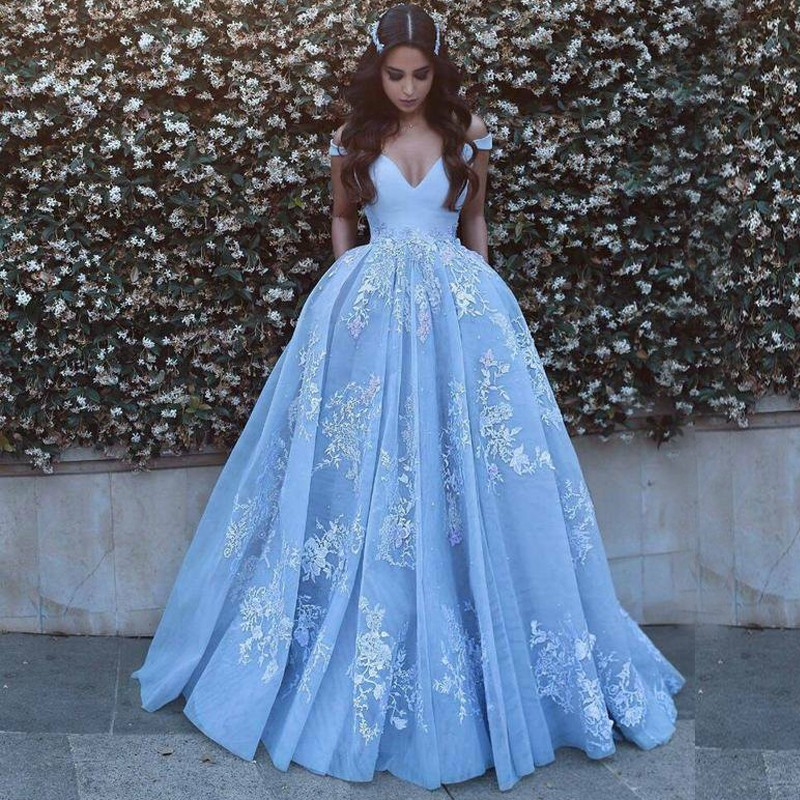 Ball Gown Off-the-Shoulder Sweep Train Blue Prom Dress with Pockets Appliques