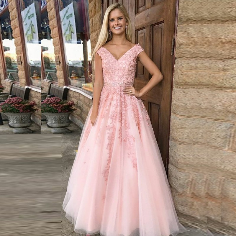 A-Line V-Neck Cap Sleeves Pink Prom Dress with Appliques Beading