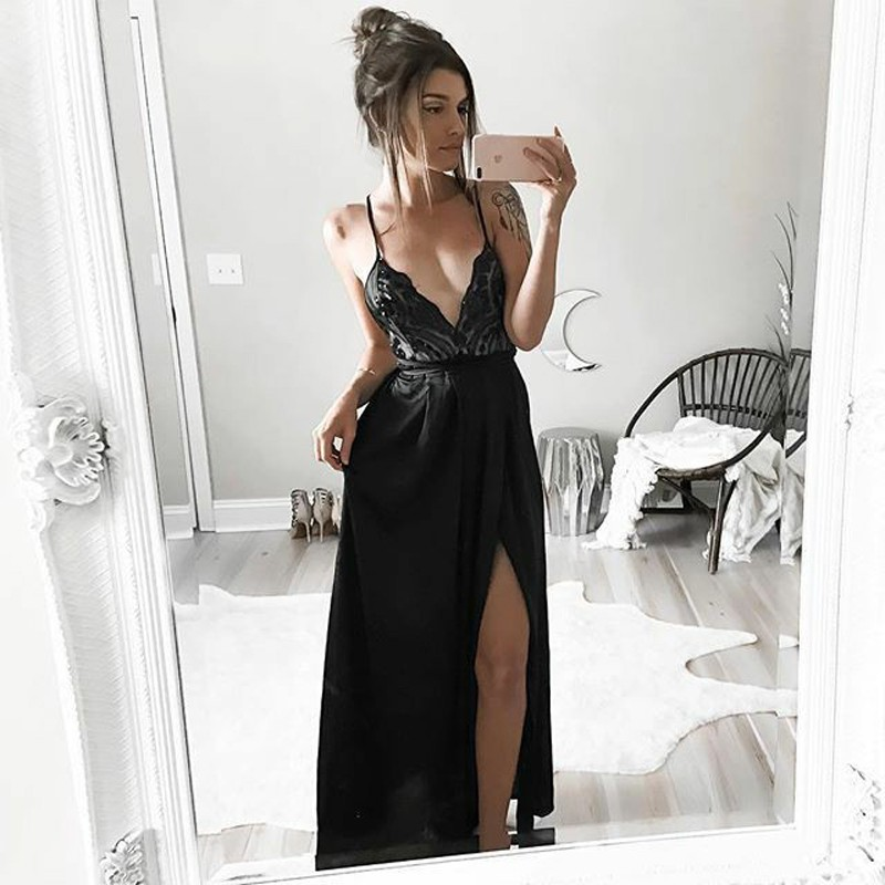 A-Line Spaghetti Straps Floor-Length Black Prom Dress with Lace