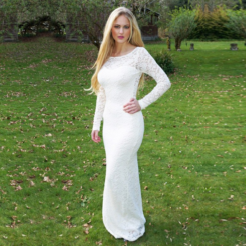 Mermaid Round Neck Long Sleeves Open Back White Lace Prom Dress