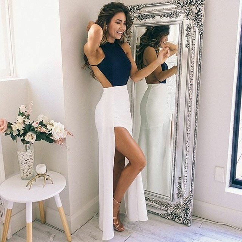 Sheath Round Neck Backless Floor-Length White Prom Dress with Split
