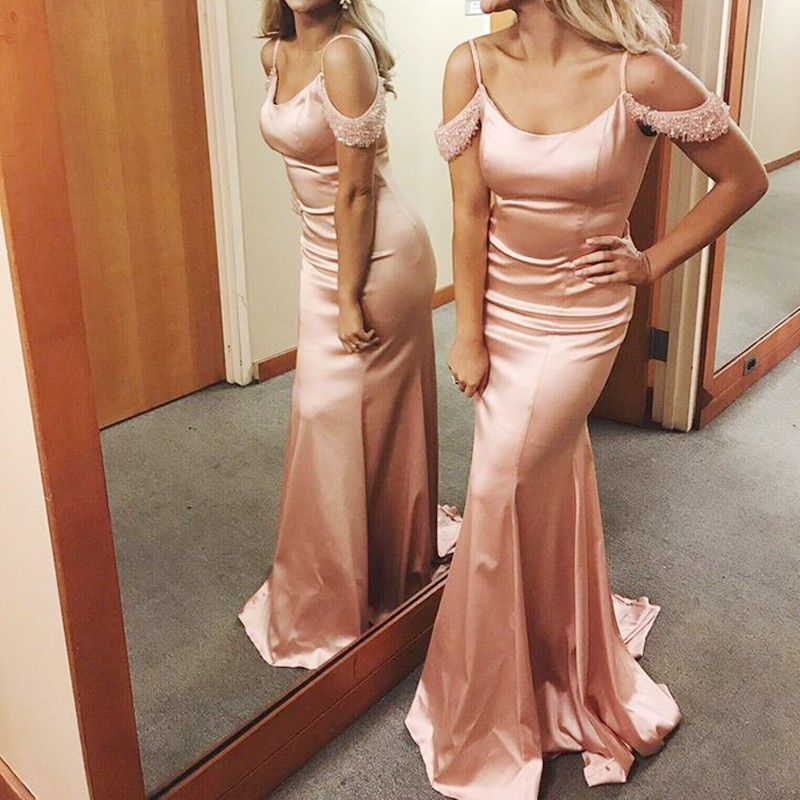 Mermaid Spaghetti Straps Sweep Train Pink Prom Dress with Beading