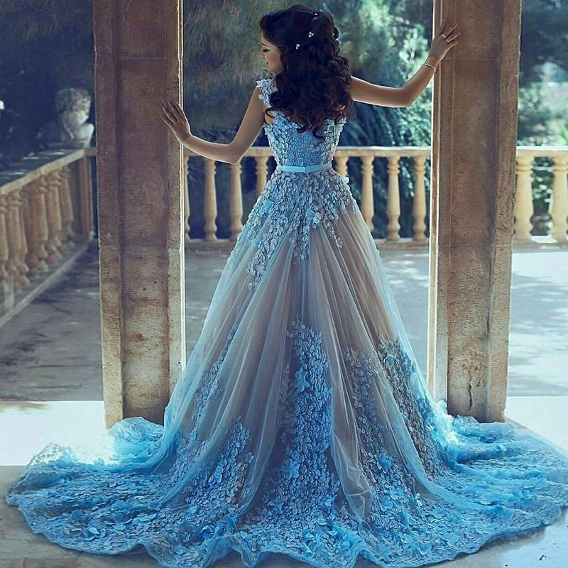 A-Line Straps Court Train Blue Tulle Prom Dress with Appliques