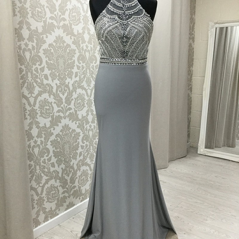 Mermaid Jewel Open Back Sweep Train Grey Prom Dress with Beading