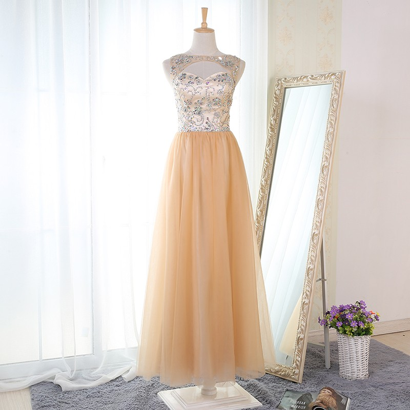 A-Line Bateau Floor-Length Champagne Prom Dress with Beading Keyhole