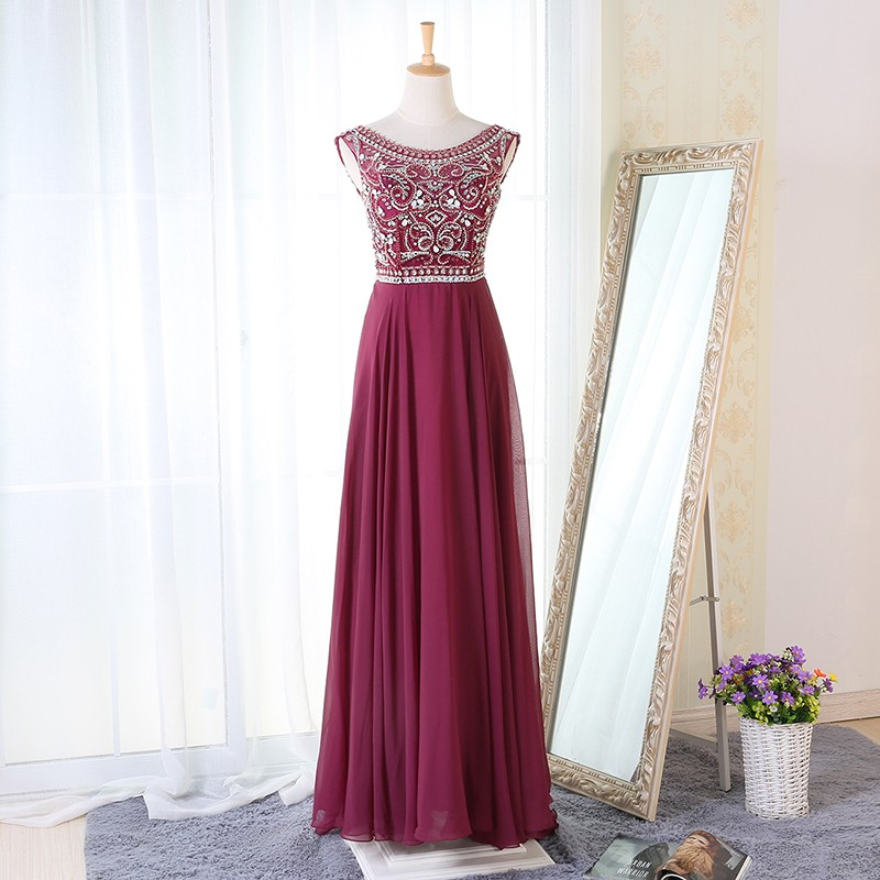 A-Line Crew Neck Floor-Length Maroon Chiffon Prom Dress with Beading
