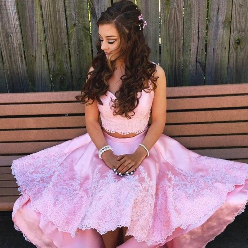 Two Piece Straps High Low Pink Satin Prom Dress with Appliques