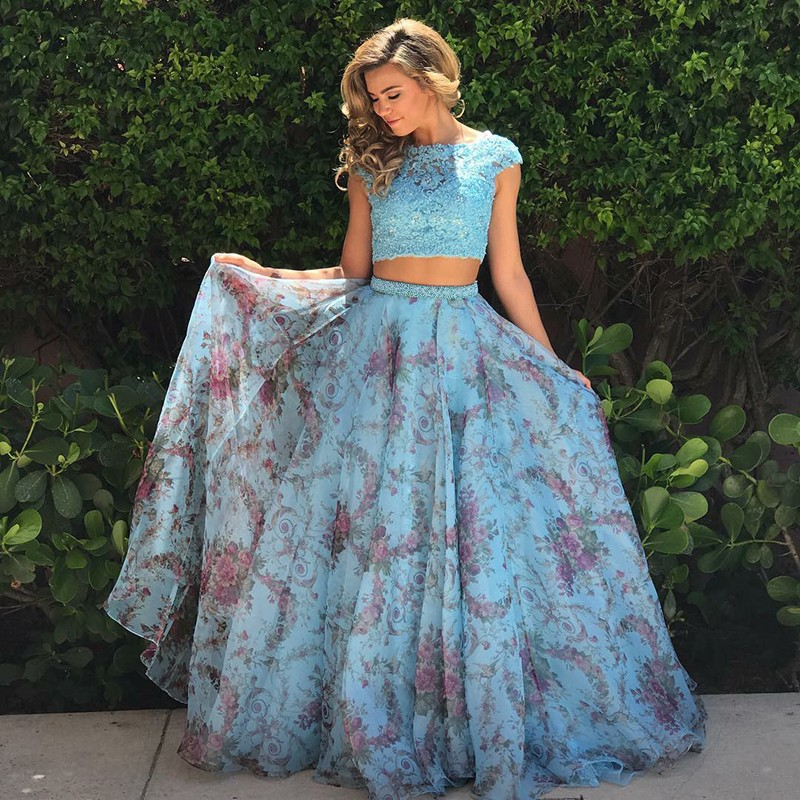 Two Piece Bateau Cap Sleeves Sweep Train Blue Floral Prom Dress with Appliques
