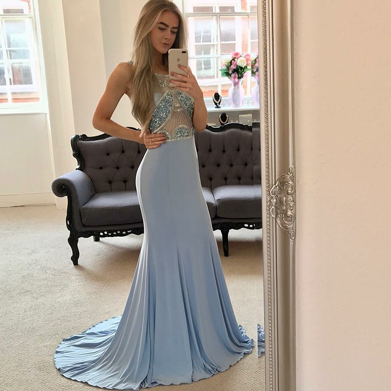 Mermaid Round Neck Open Back Sweep Train Blue Prom Dress with Beading