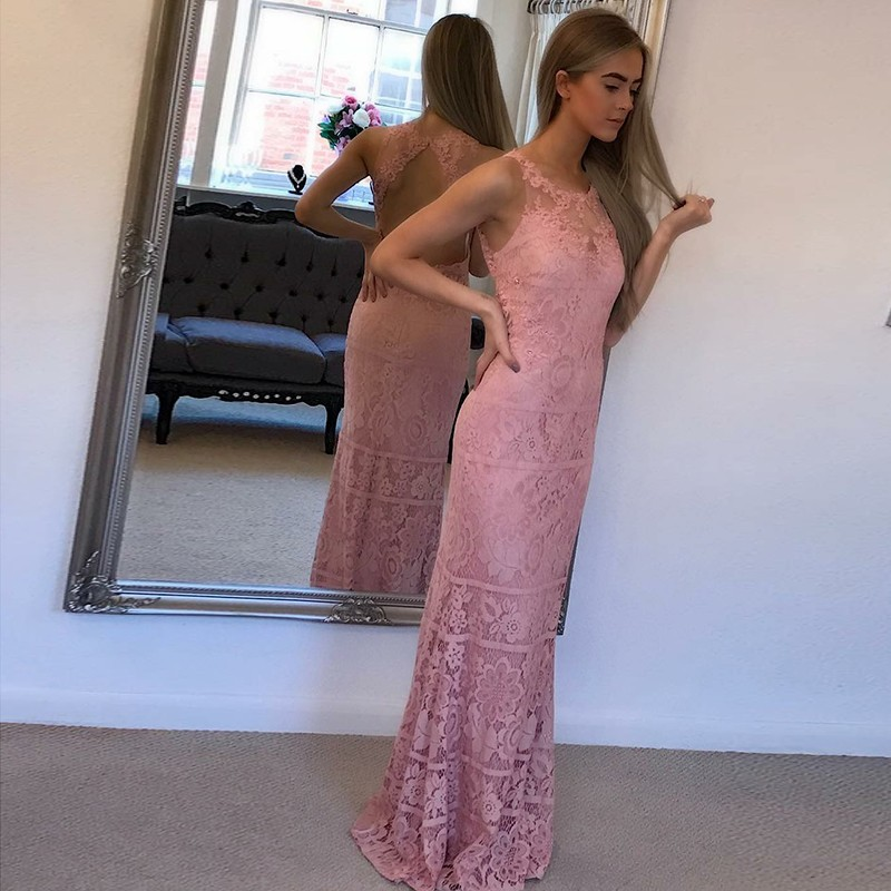 Sheath Round Neck Open Back Floor-Length Pink Lace Prom Dress