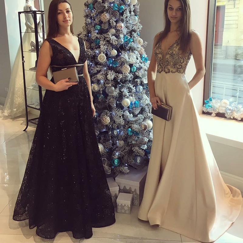 A-Line V-Neck Floor-Length Black Lace Prom Dress with Sequins Beading