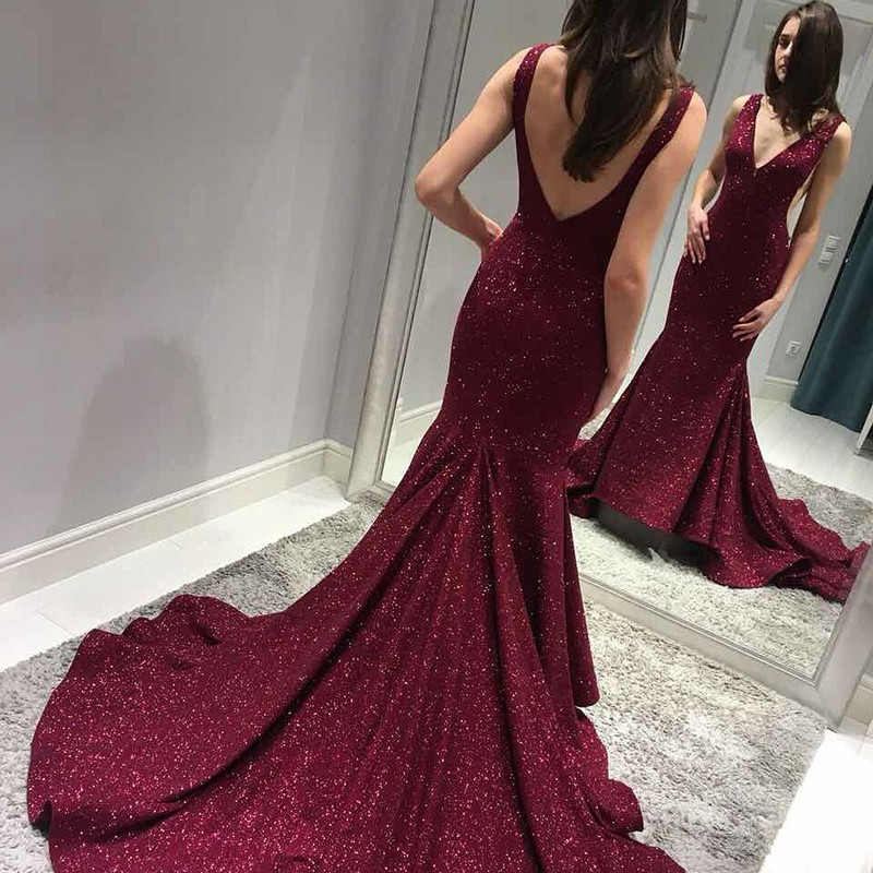 Mermaid V-Neck Backless Sweep Train Burgundy Sequined Prom Dress